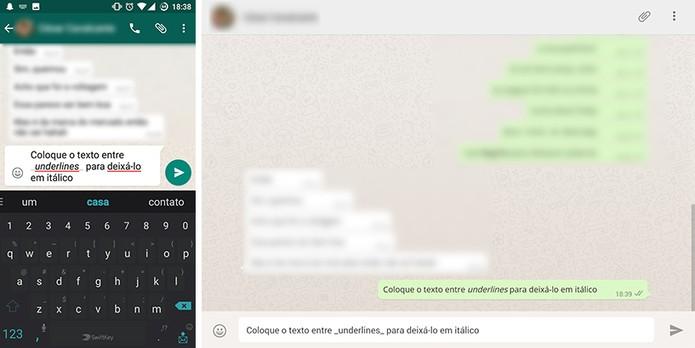 WhatsApp tem suporte a textos em itálico para grafia de palavras estrangeiras (Foto: Reprodução/Elson de Souza)