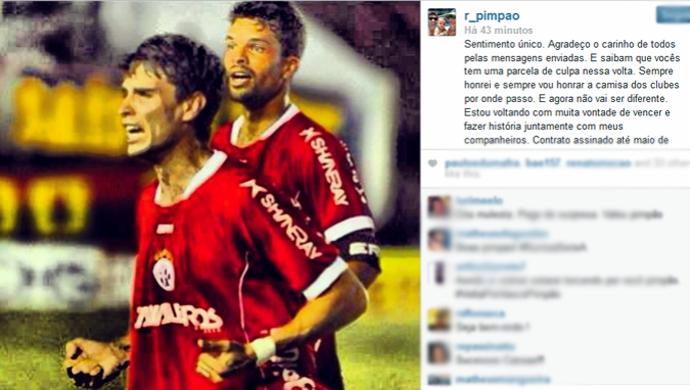 Rodrigo Pimpão postou mensagem de agradecimento em uma rede social (Foto: Reprodução/Instagram)