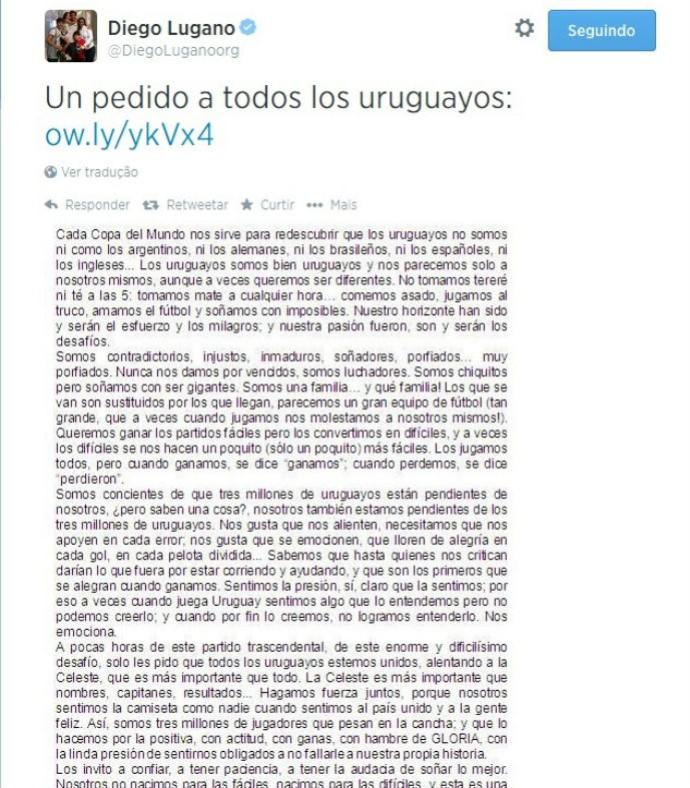 carta de lugano, uruguai (Foto: Reprodução Twitter)