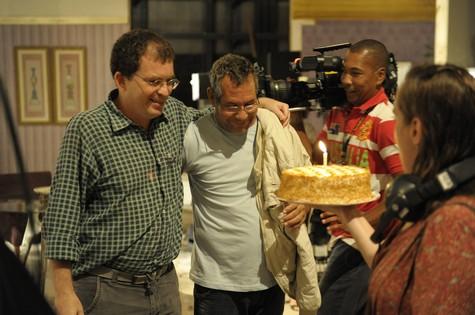 Marcos Schechtman comemora aniversário de câmera (Foto: Estevam Avellar/TV Globo)