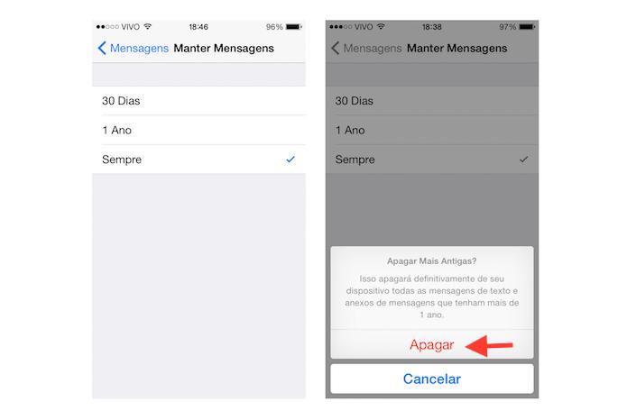 Alterando o tempo que uma mensagem fica salva no histórico do iOS 8 (Foto: Reprodução/Marvin Costa)