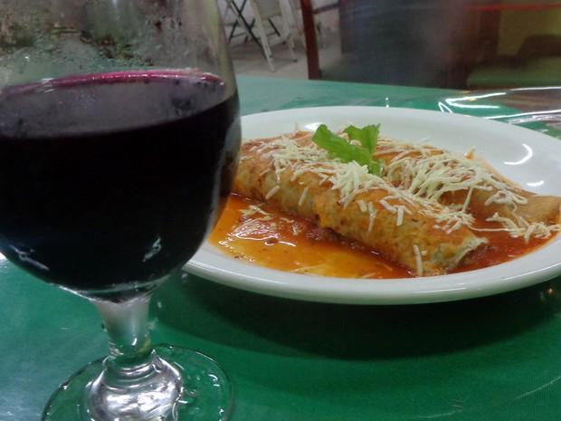 Panqueca servida em restaurante de Louveira (SP) (Foto: Matheus Filippi/G1)