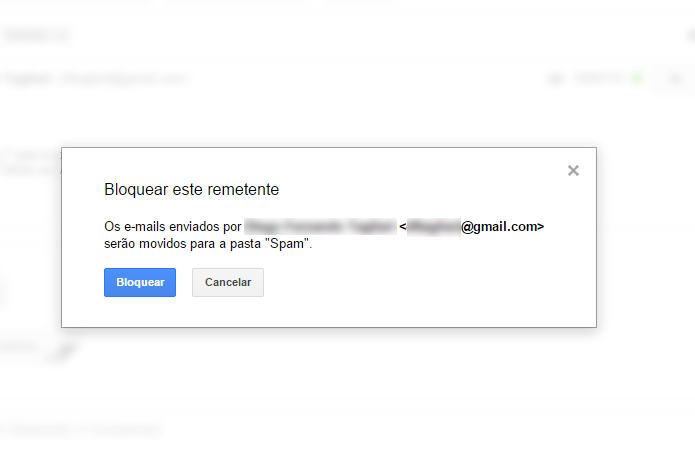 Endereços bloqueados são enviados diretamente para caixa de spam (Foto: Reprodução/Gmail)