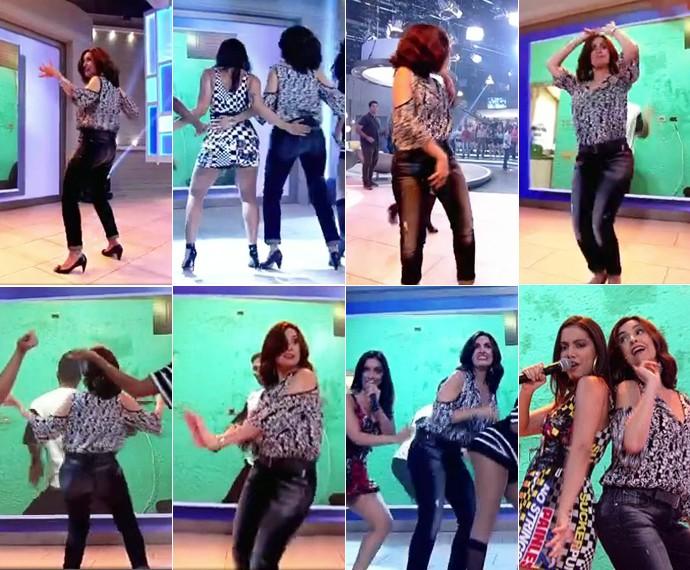 Fátima dançando 'Bang' com Anitta (Foto: TV Globo)