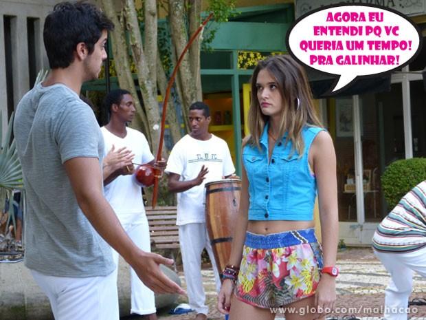 A Fatinha tá viajando, glr! O Bruno só tava dando aula pras gringas! (Foto: Malhação / Tv Globo)