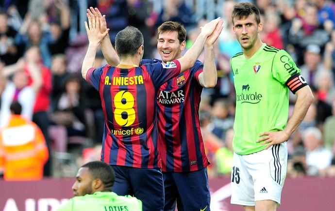 Messi comemoração Barcelona contra Osasuna (Foto: AFP)