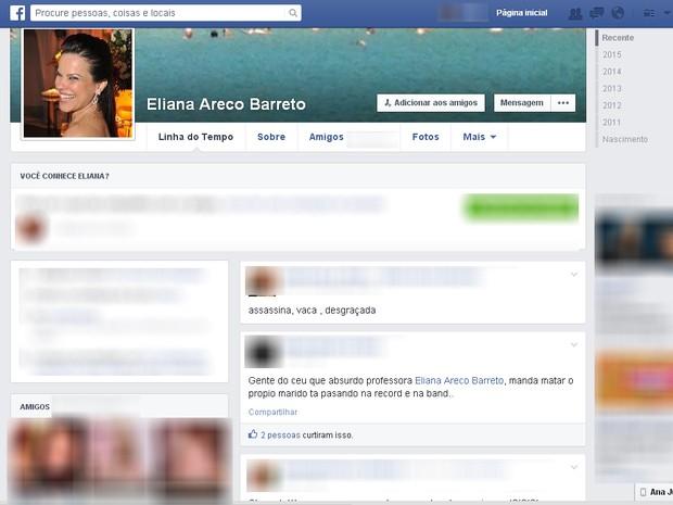 Amigos nas redes sociais comentaram prisão da professora suspeita de matar o marido.  (Foto: Reprodução / Facebook)