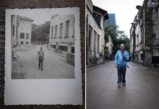 Senhor Baía em foto na década de 60 no hospital Matarazzo, e reproduzida no mesmo lugar em setembro de 2014 (Foto: Caio Kenji/G1)