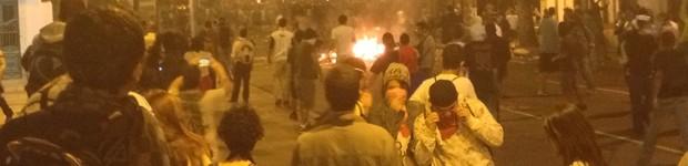Protesto no Rio tem confronto com a PM (Priscilla Souza/G1)