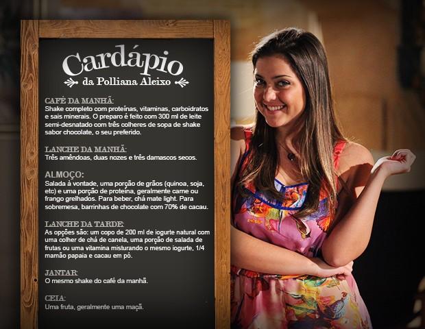 Cardápio de Polliana Aleixo é uma sugestão, mas não deixa de procurar um médico (Foto: Carol Caminha/TV Globo)