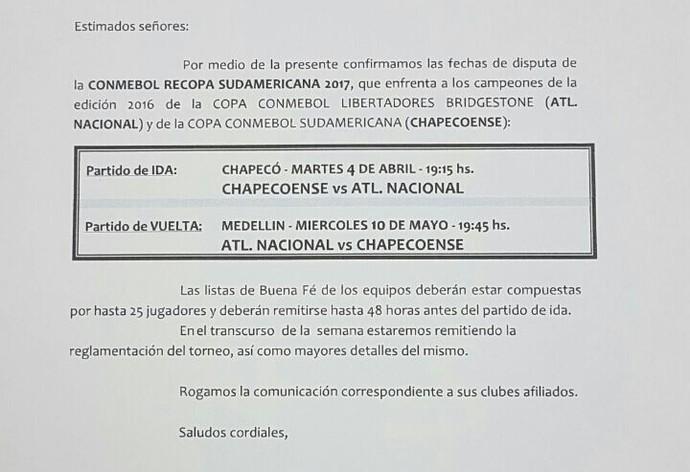 Conmebol datas da recopa Chapecoense x Atlético Nacional (Foto: Divulgação/Chapecoense)