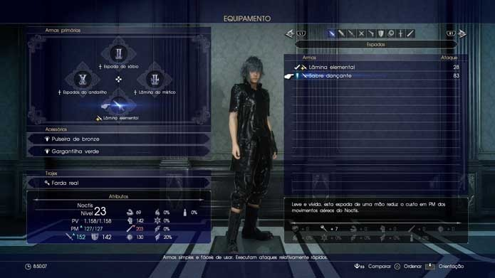 Equipe a nova arma ao seu personagem em Final Fantasy XV (Foto: Reprodução/Murilo Molina)