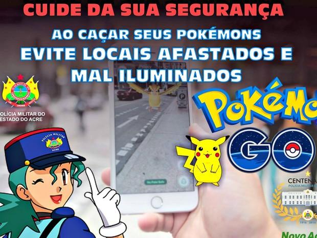 Polícia Militar postou dicas para que jogadores fiquem em segurança ao caçar Pokémons (Foto: Francisco Nerilson Ribeiro/Polícia Militar do Acre)