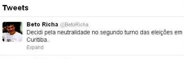 Governador Beto Richa anunciou a neutralidade nas eleições em Curitiba pelo Twitter (Foto: Reprodução)