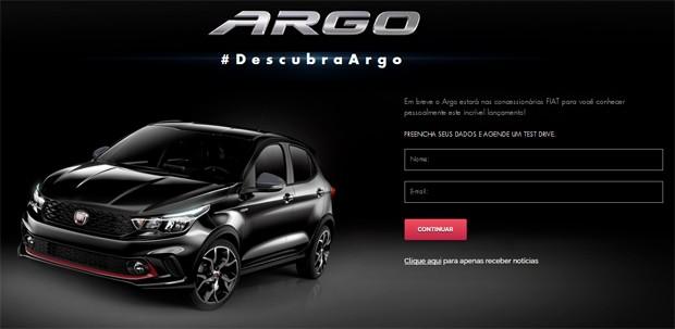 Fiat Argo tem agendamento de test drive no site oficial (Foto: Reprodução)