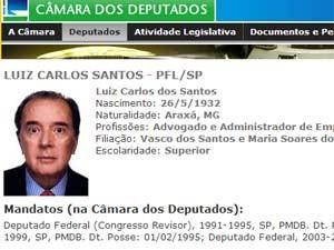 Detalhe do perfil do ex-ministro no site da Câmara (Foto: Reprodução)