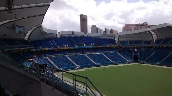 Arena das Dunas - assentos móveis (Foto: Fred Carvalho/GloboEsporte.com)
