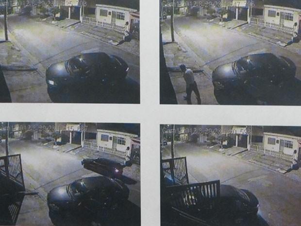 Imagens da câmera de segurança da casa do delegado (Foto: Reprodução)