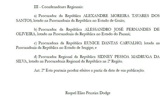Trecho de portaria assinada pela PGR Raquel Dodge (Foto: Reprodução)