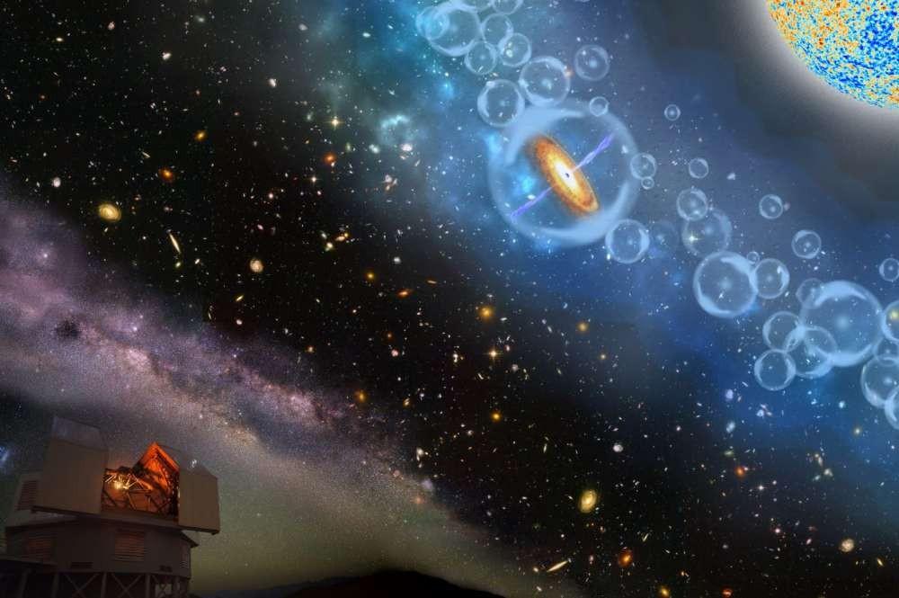 Impressão artística do quasar J1342+0928, onde o buraco negro foi observado (Foto: Robin Dienel/Carnegie Institution for Science)