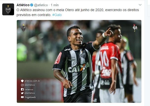Otero assina com o Atlético-MG até junho de 2020 (Foto: Atlético-MG/Twitter)