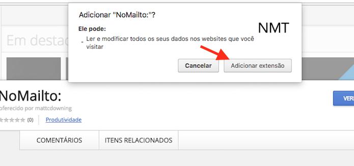 Opção para instalar a extensão NoMailto no Google Chrome (Foto: Reprodução/Marvin Costa)