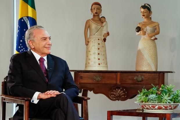 O presidente Michel Temer, durante entrevista para a Rede TV (Foto: Marcos Correa/Presidência da República)
