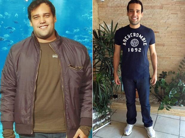 Jonas mudou a alimentação e começou a se exercitar – mudança que o fez perder 32 kg; fotos mostram antes e depois (Foto: Arquivo pessoal)