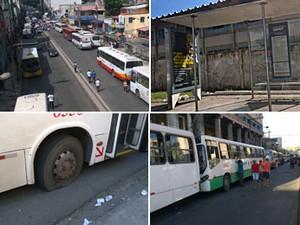 Greve de rodoviários em Salvador (Foto: Henrique Mendes/G1)