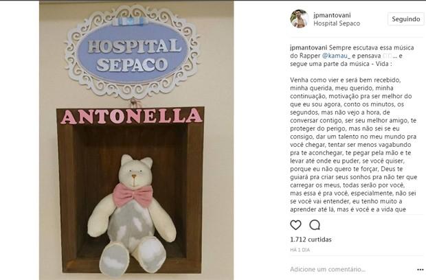 JP Mantovani faz post sobre Antonella, sua filha com Li Martins (Foto: Reprodução/Instagram)