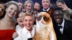 Paródia da 'selfie' do Oscar divulgada pelo ferfil da Grumpy Cat. criador do Snoopy. (Foto: Reprodução/Twitter/@RealGrumpyCat)