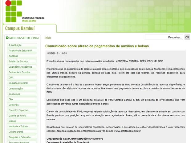 Comunicado foi publicado no site da instituição em Bambuí (Foto: Reprodução/IFMG Bambuí)