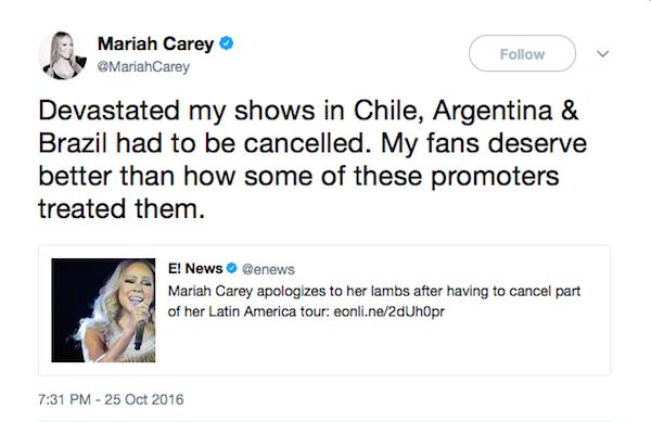 O tuíte no qual a cantora Mariah Carey anunciou o cancelamento de seus shows no Brasil, na Argentina e no Chile em 2016 (Foto: Twitter)
