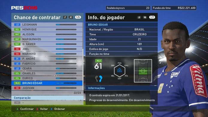 Meia do Cruzeiro tem péssimos números em PES 2016 (Foto: Reprodução/Murilo Molina)
