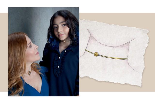Flavia usa a gargantilha de ouro e diamantes herdada da mãe. A filha Clara, a nova choker de citrino e diamantes (Foto: Rogério Cavalcanti)