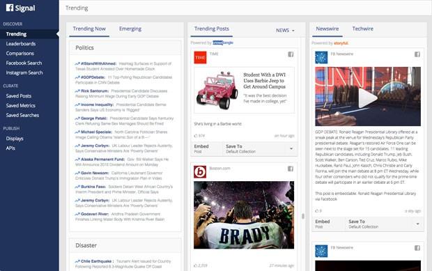 Signal, novo serviço de Facebook e Instagram para acompanhar tendências de publicações nas redes sociais. (Foto: Divulgação/Facebook)