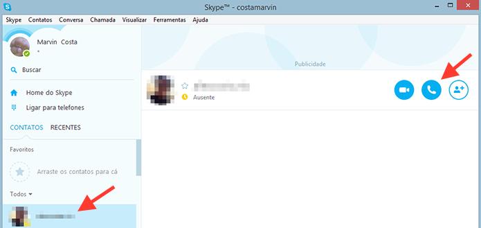 Iniciando uma ligação gratuita no Skype para Windows (Foto: Reprodução/Marvin Costa)