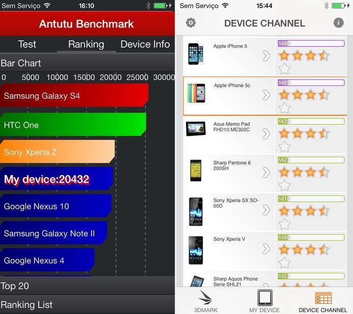 Resultados do iPhone 5C em testes de benchmark (Foto: Isadora Díaz/TechTudo)