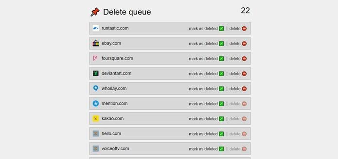 Apps selecionados são adicionados à lista para usuário deletar cada conta por vez