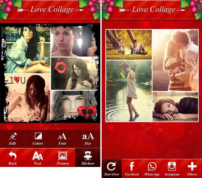 Insta Pic Photo Grid oferece diferentes stickers para decorar montagens de casais apaixonados (Foto: Divulgação/ Insta Pic Photo Grid)