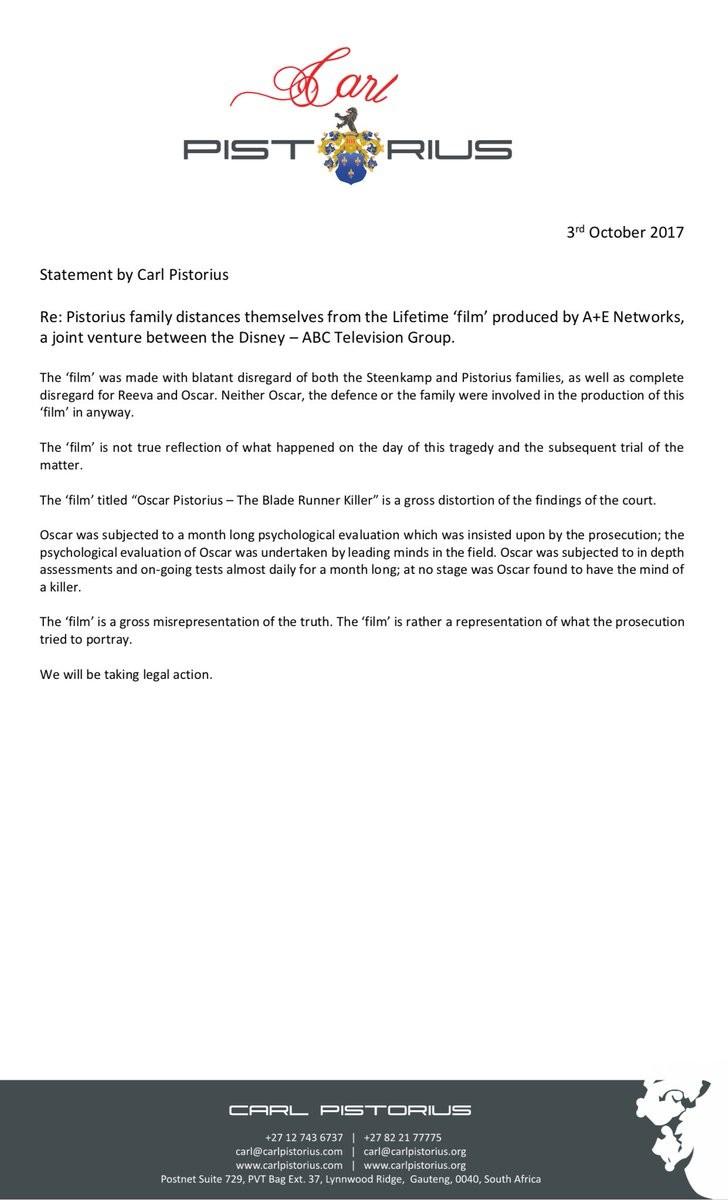 Declaração da família de Oscar Pistorius (Foto: Twitter)