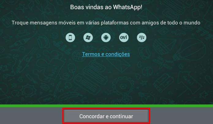Configuração inicial do WhatsApp (Foto: Reprodução/Helito Bijora)