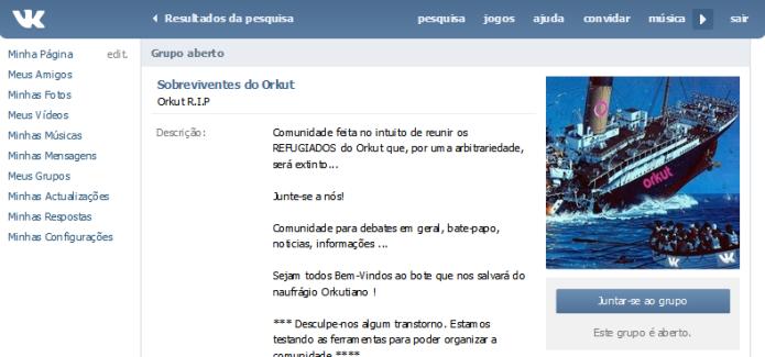 As comunidades que eram o ponto alto do Orkut também estão presentes no VK (Foto: Reprodução/Lívia Dâmaso) (Foto: As comunidades que eram o ponto alto do Orkut também estão presentes no VK (Foto: Reprodução/Lívia Dâmaso))