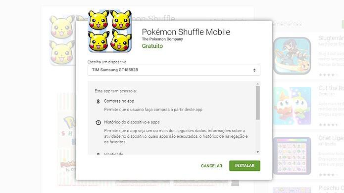 Na página do Pokémon Suffle, selecione o aparelho Android e clique em Instalar (Foto: Reprodução/Tais Carvalho)