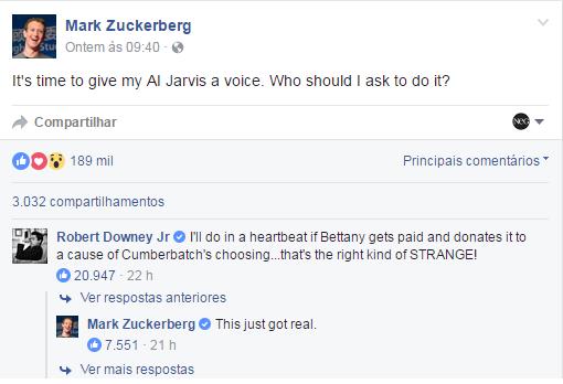 Publicação feita por Mark Zuckerberg em sua página do Facebook e a resposta do ator Robert Downey Jr. (Foto: Reprodução/Facebook)
