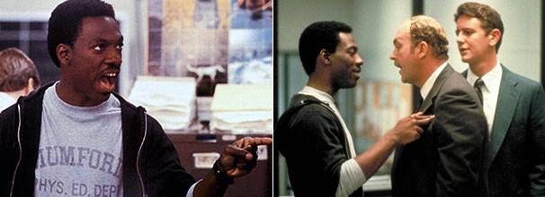 Camiseta de um colégio de Detroit virou um sucesso de vendas, depois de ser usada por Eddie Murphy no filme. À direita, os atores Eddie Murhphy (Foto: Divulgação/Reprodução)