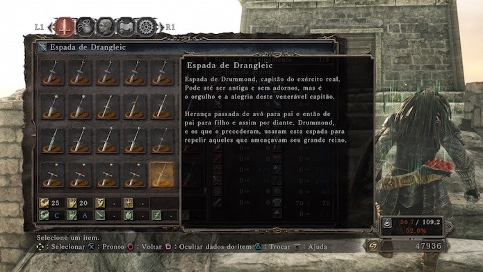 Dark Souls 2: Scholar of the First Sin: Espada de Drangleic (Foto: Reprodução/Victor Teixeira)