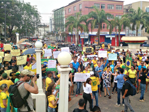 PM considera manifestação pacífica em Rio Branco  (Foto: Iryá Rodrigues/G1)