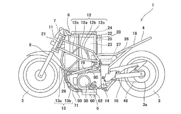Esboço seria de primeira moto elétrica da Kawasaki (Foto: USPTO)
