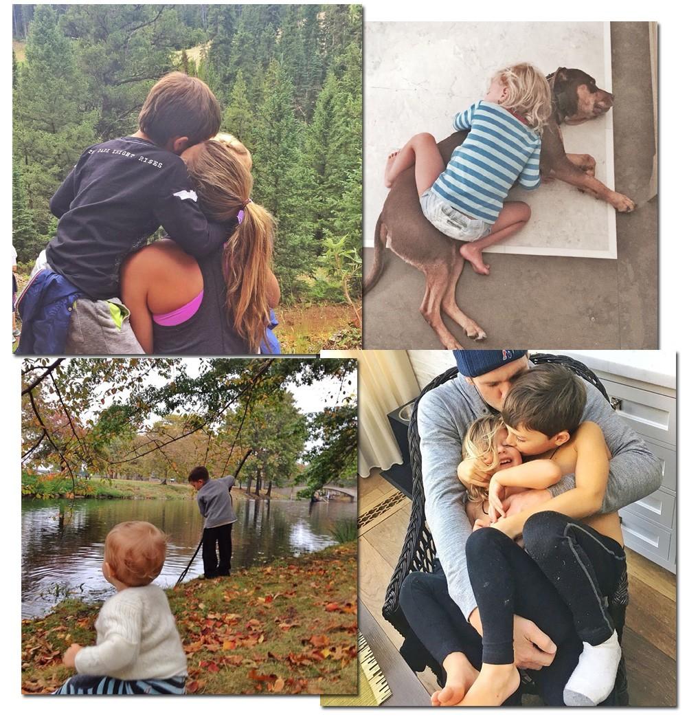 Gisele Bündchen também faz questão de preservar a imagem dos filhos, mas não resiste à postagem dos cliques mais carinhosos (Foto: Reprodução/Instagram)